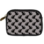 Black Cats on Gray Digital Camera Leather Case Front