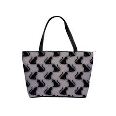 Black Cats On Gray Large Shoulder Bag