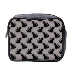 Black Cats On Gray Mini Travel Toiletry Bag (two Sides)