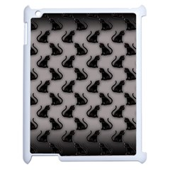 Black Cats On Gray Apple Ipad 2 Case (white)