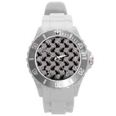 Black Cats on Gray Plastic Sport Watch (Large)