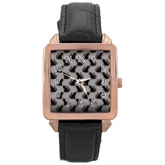 Black Cats On Gray Rose Gold Leather Watch