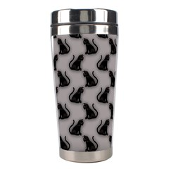 Black Cats on Gray Stainless Steel Travel Tumbler