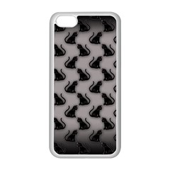 Black Cats on Gray Apple iPhone 5C Seamless Case (White)