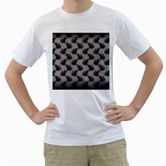 Black Cats on Gray Men s T-Shirt (White)