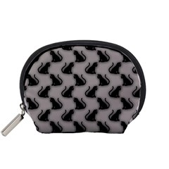 Black Cats On Gray Accessory Pouch (small)