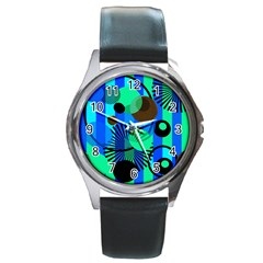 Blue Green Stripes Dots Round Leather Watch (silver Rim)