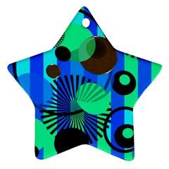 Blue Green Stripes Dots Star Ornament