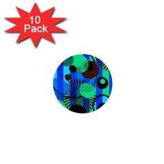 Blue Green Stripes Dots 1  Mini Button (10 pack)