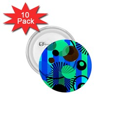 Blue Green Stripes Dots 1.75  Button (10 pack)