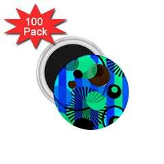 Blue Green Stripes Dots 1 75  Button Magnet (100 Pack)