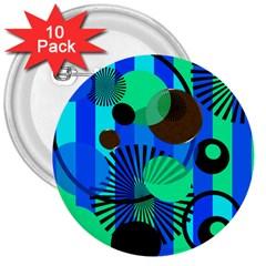 Blue Green Stripes Dots 3  Button (10 Pack)