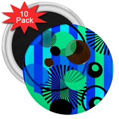 Blue Green Stripes Dots 3  Button Magnet (10 pack)