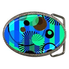 Blue Green Stripes Dots Belt Buckle (oval)