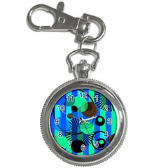 Blue Green Stripes Dots Key Chain Watch