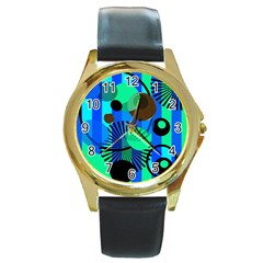 Blue Green Stripes Dots Round Leather Watch (gold Rim)
