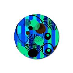 Blue Green Stripes Dots Drink Coasters 4 Pack (Round)
