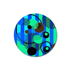 Blue Green Stripes Dots Magnet 3  (round)