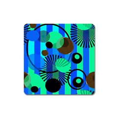 Blue Green Stripes Dots Magnet (Square)