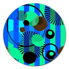 Blue Green Stripes Dots Magnet 5  (round)