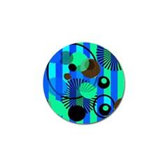Blue Green Stripes Dots Golf Ball Marker