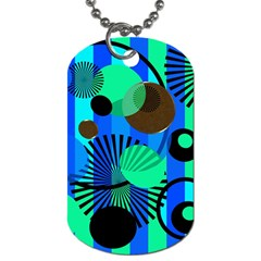 Blue Green Stripes Dots Dog Tag (Two-sided)