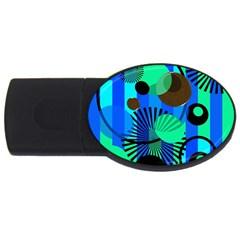 Blue Green Stripes Dots 2gb Usb Flash Drive (oval)