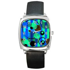 Blue Green Stripes Dots Square Leather Watch