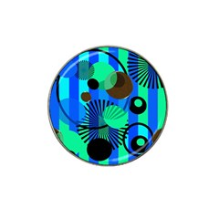 Blue Green Stripes Dots Golf Ball Marker (for Hat Clip)