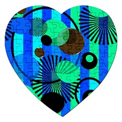 Blue Green Stripes Dots Jigsaw Puzzle (heart)