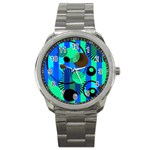 Blue Green Stripes Dots Sport Metal Watch Front