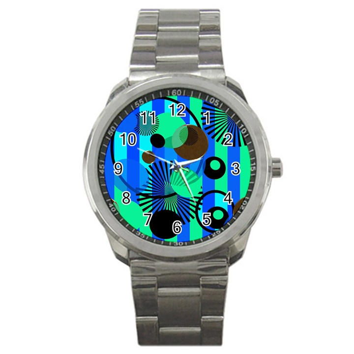 Blue Green Stripes Dots Sport Metal Watch