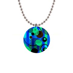 Blue Green Stripes Dots Button Necklace