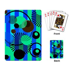 Blue Green Stripes Dots Playing Cards Single Design