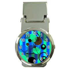 Blue Green Stripes Dots Money Clip With Watch