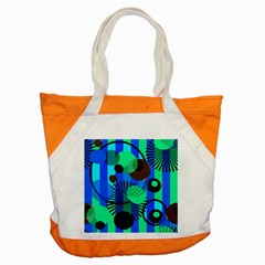 Blue Green Stripes Dots Accent Tote Bag