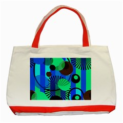 Blue Green Stripes Dots Classic Tote Bag (red)