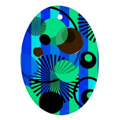 Blue Green Stripes Dots Oval Ornament (Two Sides)
