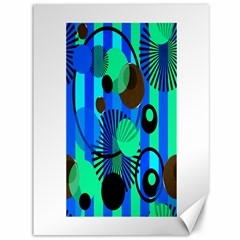 Blue Green Stripes Dots Canvas 36  X 48  (unframed)