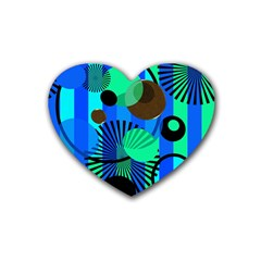 Blue Green Stripes Dots Drink Coasters 4 Pack (Heart)