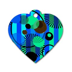 Blue Green Stripes Dots Dog Tag Heart (Two Sided)