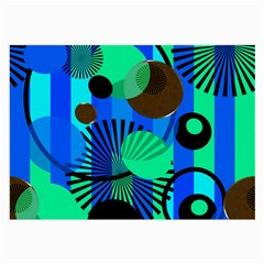 Blue Green Stripes Dots Glasses Cloth (Large, Two Sided)