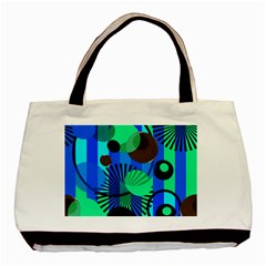 Blue Green Stripes Dots Twin Sided Black Tote Bag