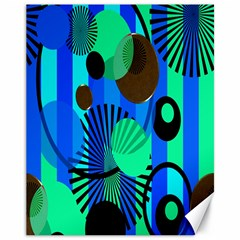 Blue Green Stripes Dots Canvas 11  X 14  (unframed)