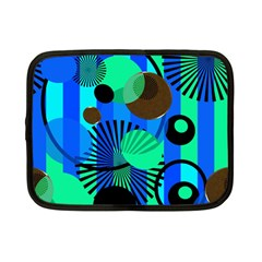 Blue Green Stripes Dots Netbook Sleeve (small)
