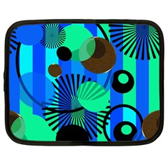 Blue Green Stripes Dots Netbook Sleeve (large)