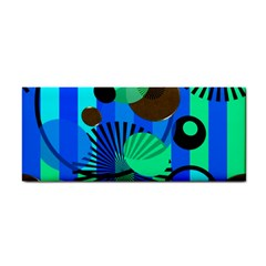 Blue Green Stripes Dots Hand Towel