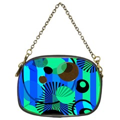 Blue Green Stripes Dots Chain Purse (two Sided)