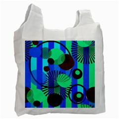 Blue Green Stripes Dots White Reusable Bag (One Side)