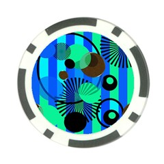 Blue Green Stripes Dots Poker Chip (10 Pack)